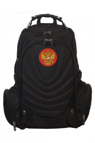 Многоцелевой черный рюкзак с нашивкой Герб России