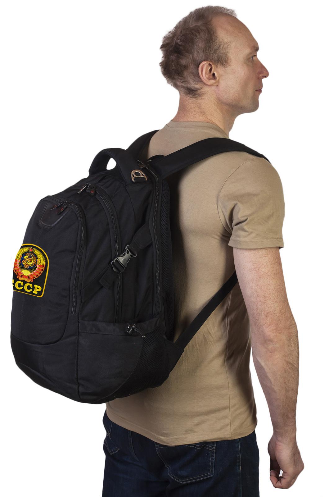 Многоцелевой черный рюкзак с нашивкой Герб СССР - заказать оптом