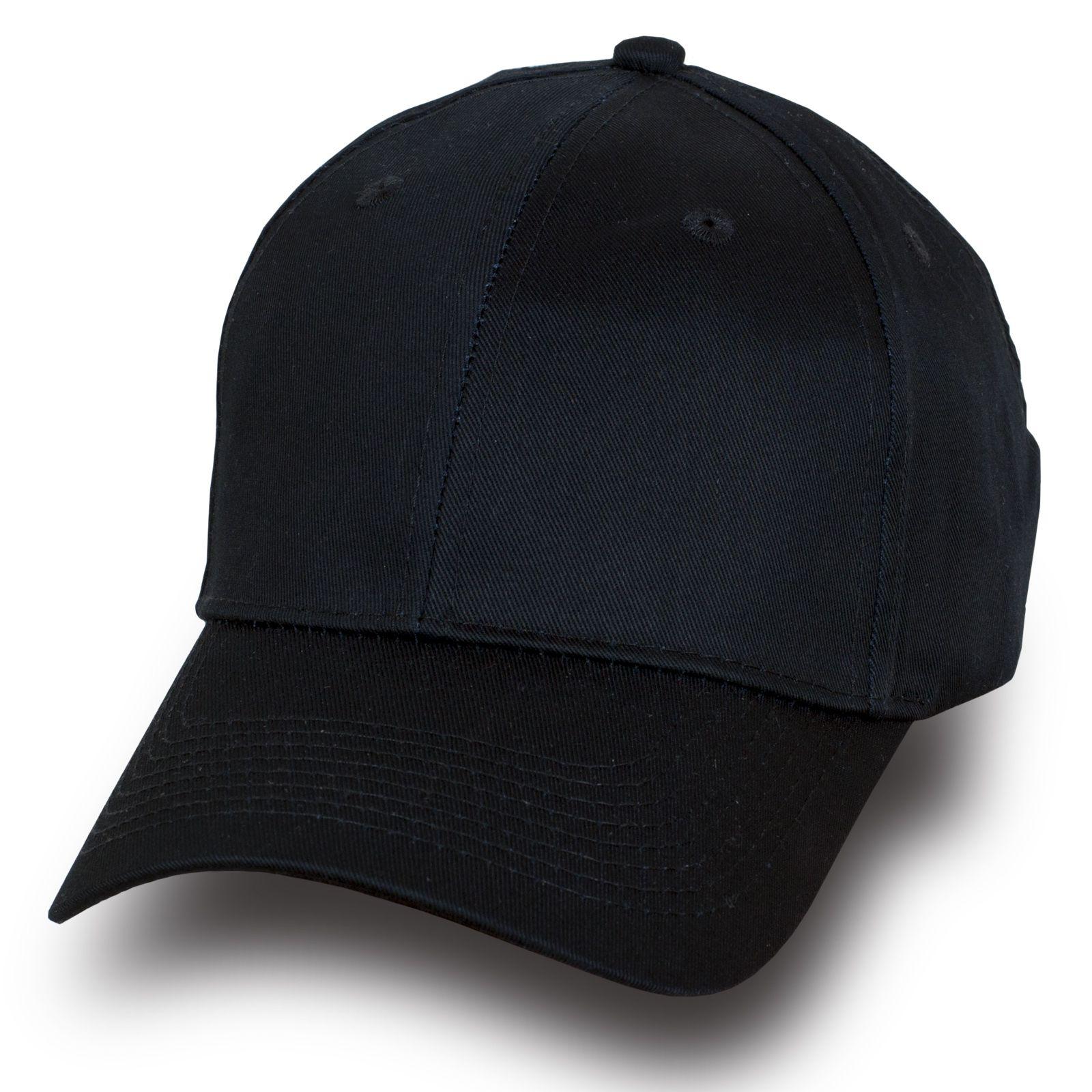 Модная бейсболка черного цвета