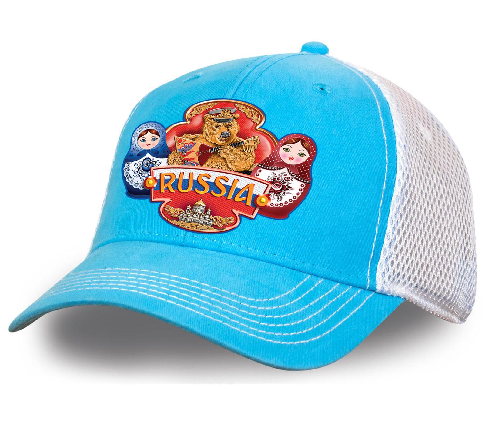 """Модная бейсболка """"Russia"""" с сеткой. Контрастная бело-голубая модель с ярким принтом. Заказывай и будь в тренде!"""