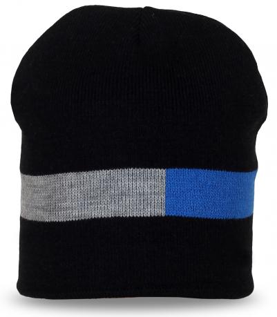 Модная черная шапка с серо-синей полоской