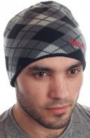 Модная клетчатая мужская шапка на флисовой основе