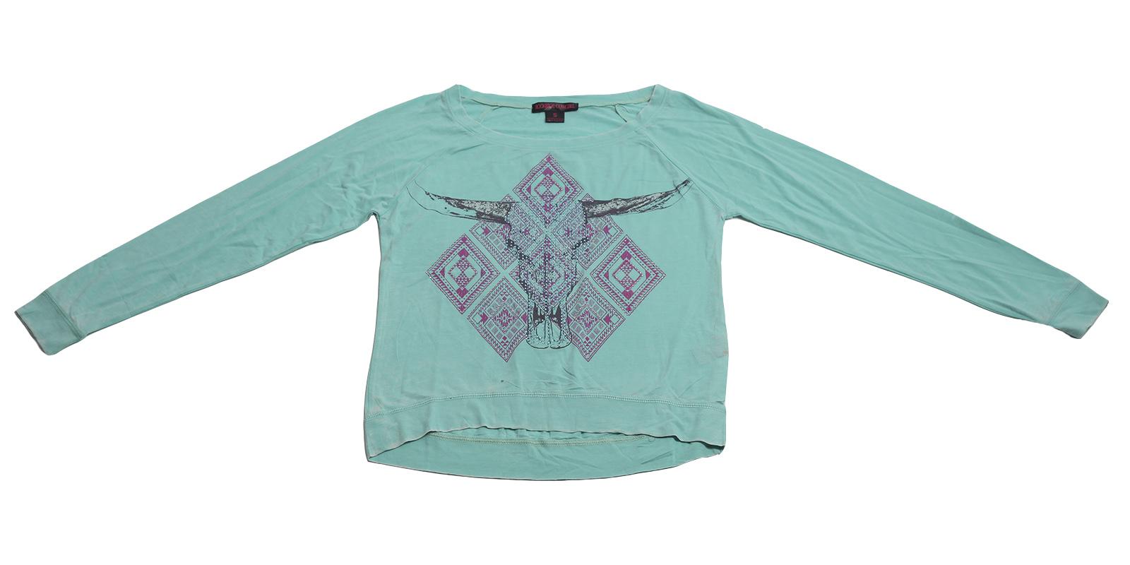 Модная кофточка Rock&Roll CowGirl. Короткая модель бирюзового цвета с контрастным принтом