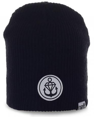 Модная мужская шапка Neff. Стильный удлиненный дизайн с якорем. Тепло и комфорт на каждый день