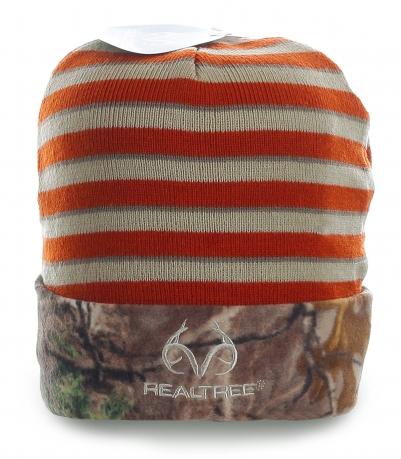 Модная шапка Realtree с камуфляжной полоской. Утеплитель - флис. Теплая и яркая модель для стильных парней