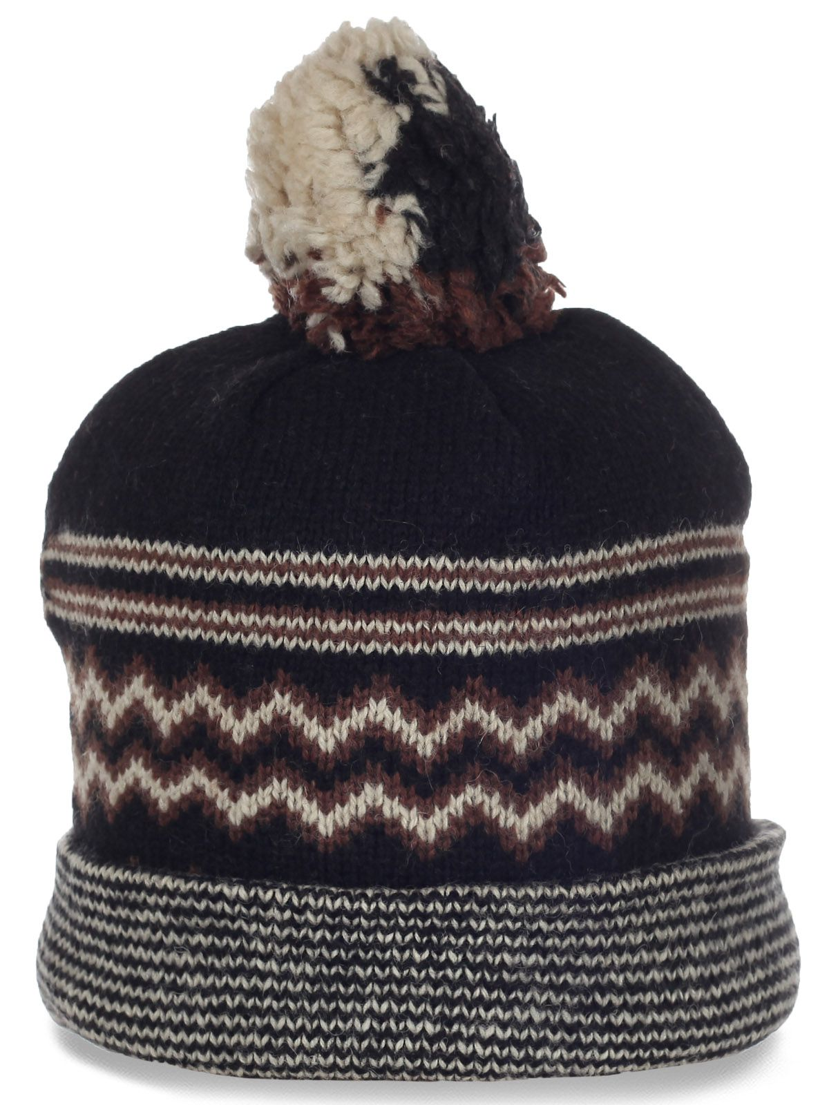 Модная шерстяная шапочка для спорта и активного отдыха с пушистым помпоном