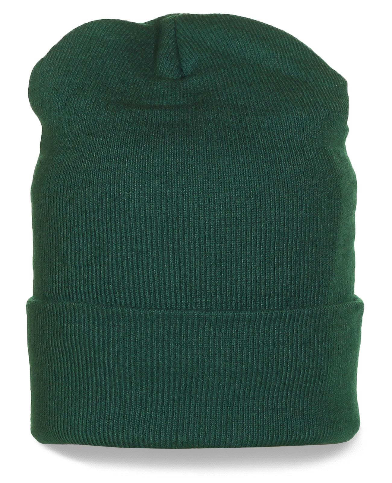 Модная зеленая шапка с подворотом. Подходит на каждый день!