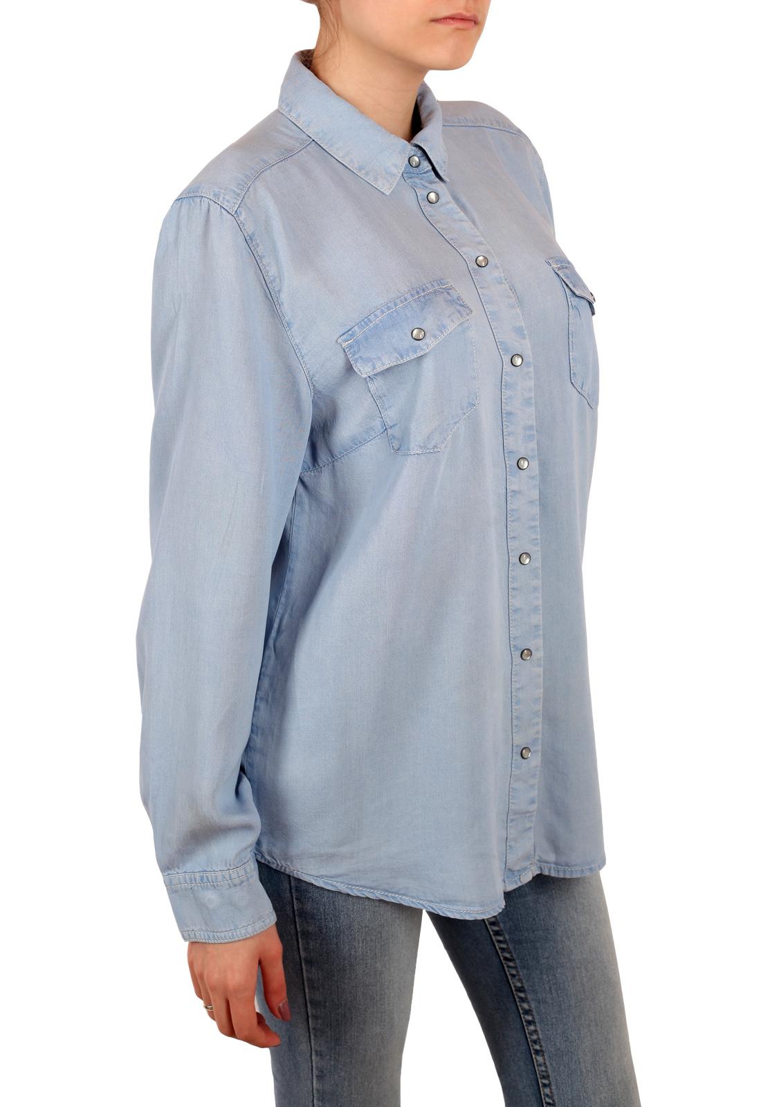 Модная женская рубашка Sheego Denim – элегантная модель с карманами на груди и перламутровыми пуговицами. Есть БОЛЬШИЕ размеры