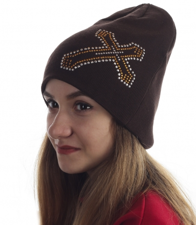 Модная женская шапочка на каждый день. Отделка стразами, форма - хит сезона! Заказывай скорее!