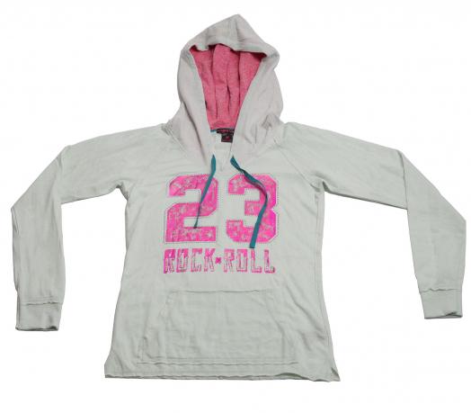 Модное худи Rock&Roll CowGirl  бело-розового цвета из натурального хлопка
