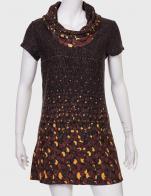 Купить модное коричневое платье с оригинальным принтом