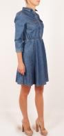 Модное джинсовое платье DNN в стиле бэби долл. Гремучая смесь невинности и соблазна. Кокетливые кармашки на груди, рукав ¾ и обнаженные коленки