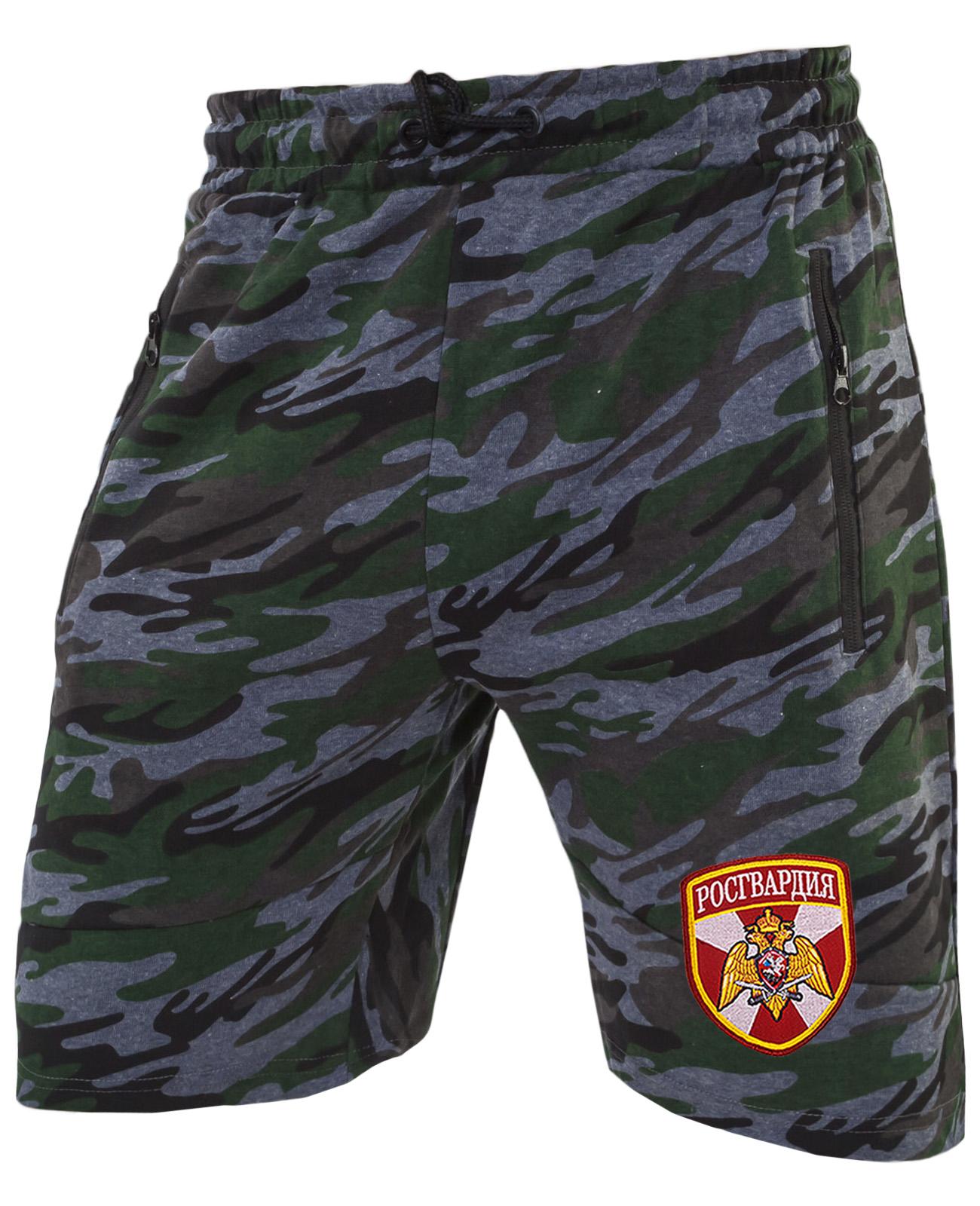 Модные камуфляжные милитари шорты с нашивкой Росгвардия