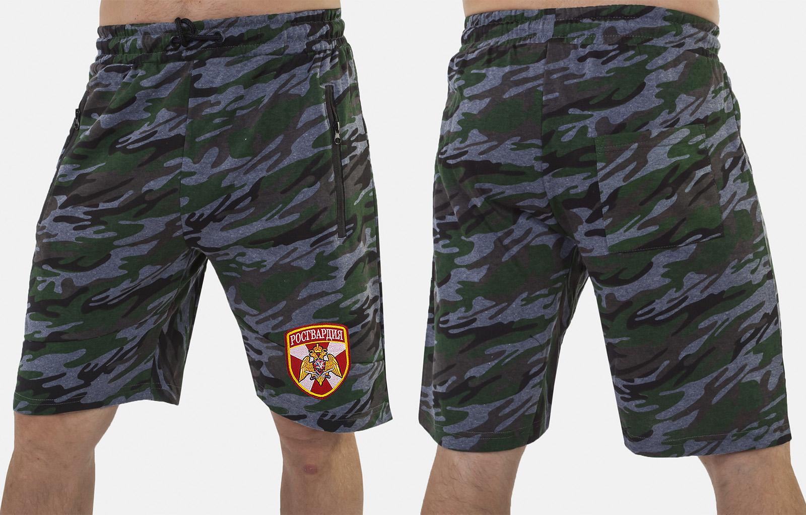 Модные камуфляжные милитари шорты с нашивкой Росгвардия - купить оптом