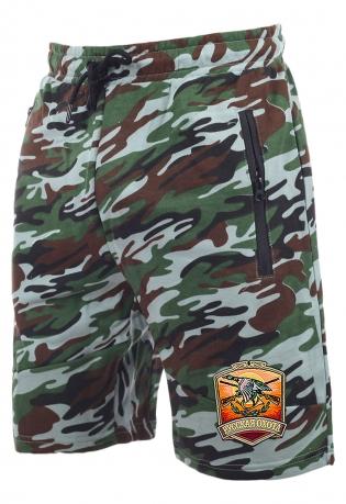 Модные камуфляжные шорты с нашивкой Русская Охота