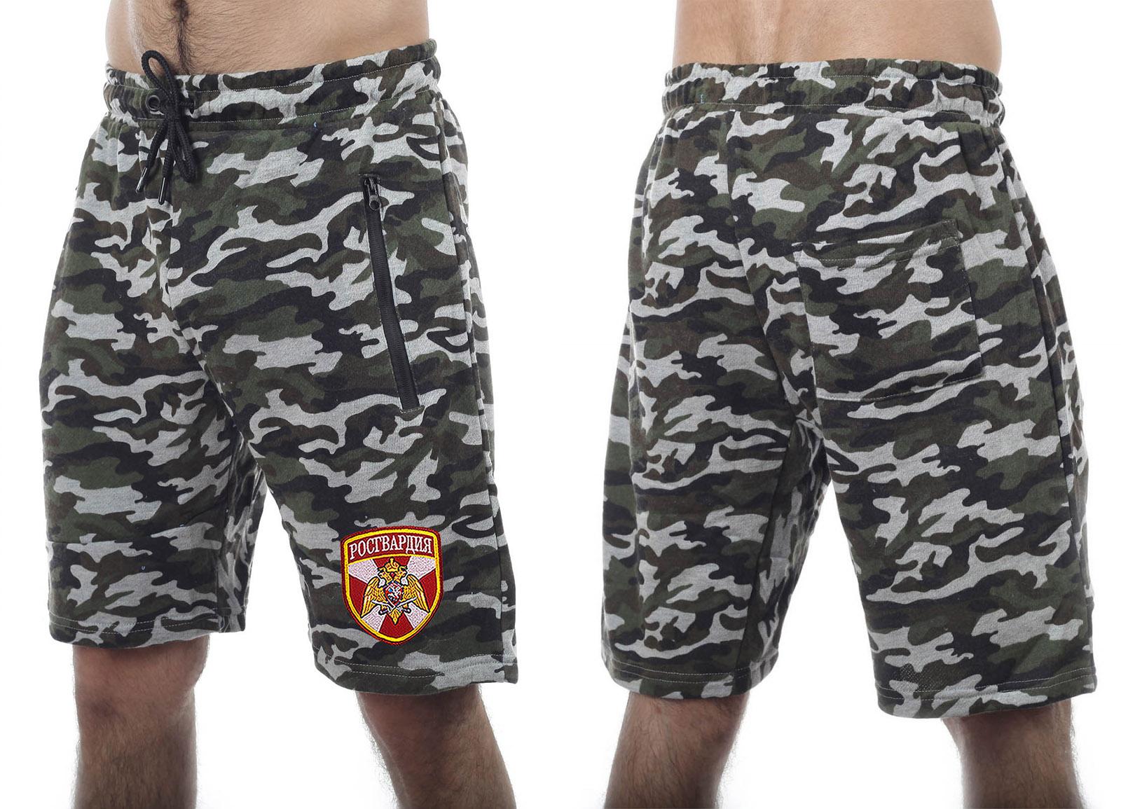 Модные трикотажные шорты с нашивкой Росгвардия - купить выгодно