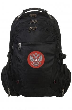 Модный черный рюкзак с нашивкой Герб России