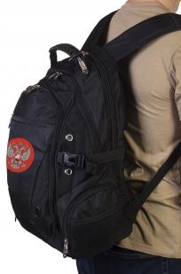 Модный черный рюкзак с нашивкой Герб России купить в подарок