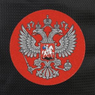 Модный черный рюкзак с нашивкой Герб России купить выгодно