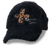 Мохнатая детская кепка с леопардовым декором