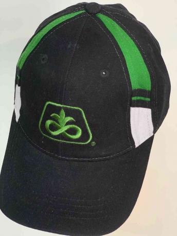Молодёжная чёрная бейсболка с зелёными вставками