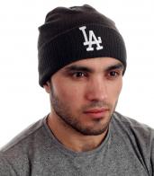 Молодежная фирменная мужская шапка LA. В тренде зимнего сезона! Успей заказать и стать модником!
