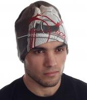 Молодежная мужская шапка с ярким принтом спортивного стиля на флисе