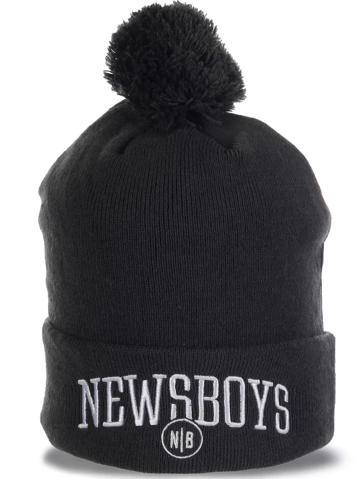 Молодежная мужская шапочка с помпоном от Newsboys