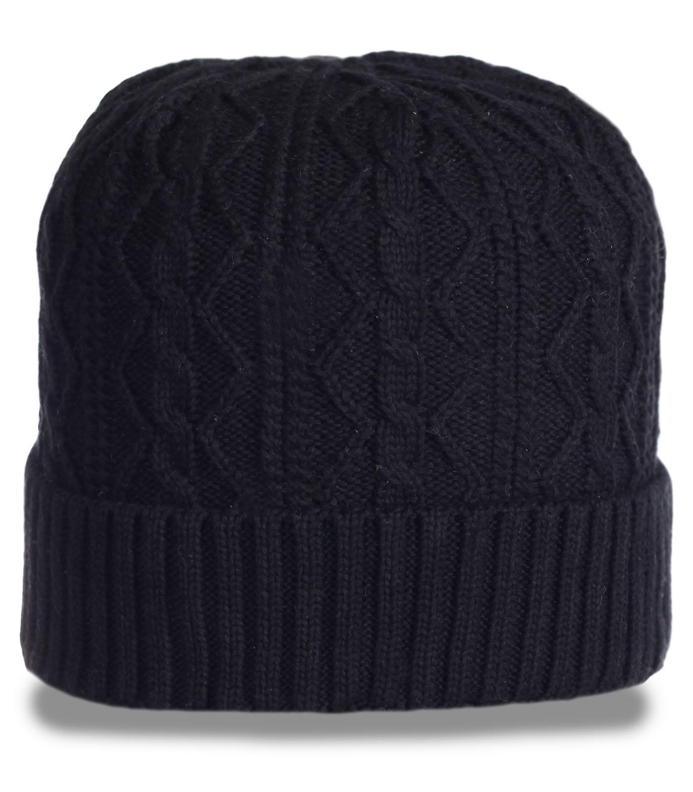 молодежная стильная мужская вязаная шапка неподражаемого дизайна с