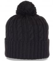 Молодежная вязаная шапка с широким подворотом. Теплая и практичная модель, которая в моде всегда