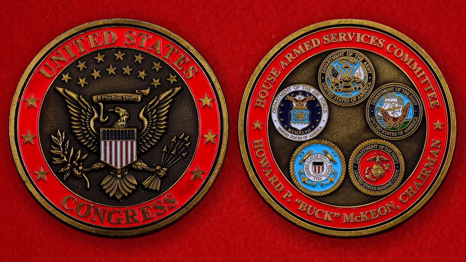 """Американская монета """"Председатель Комитета по вооруженным силам Палаты представителй Конгресса США Говард """"Бак"""" МакКеон"""""""