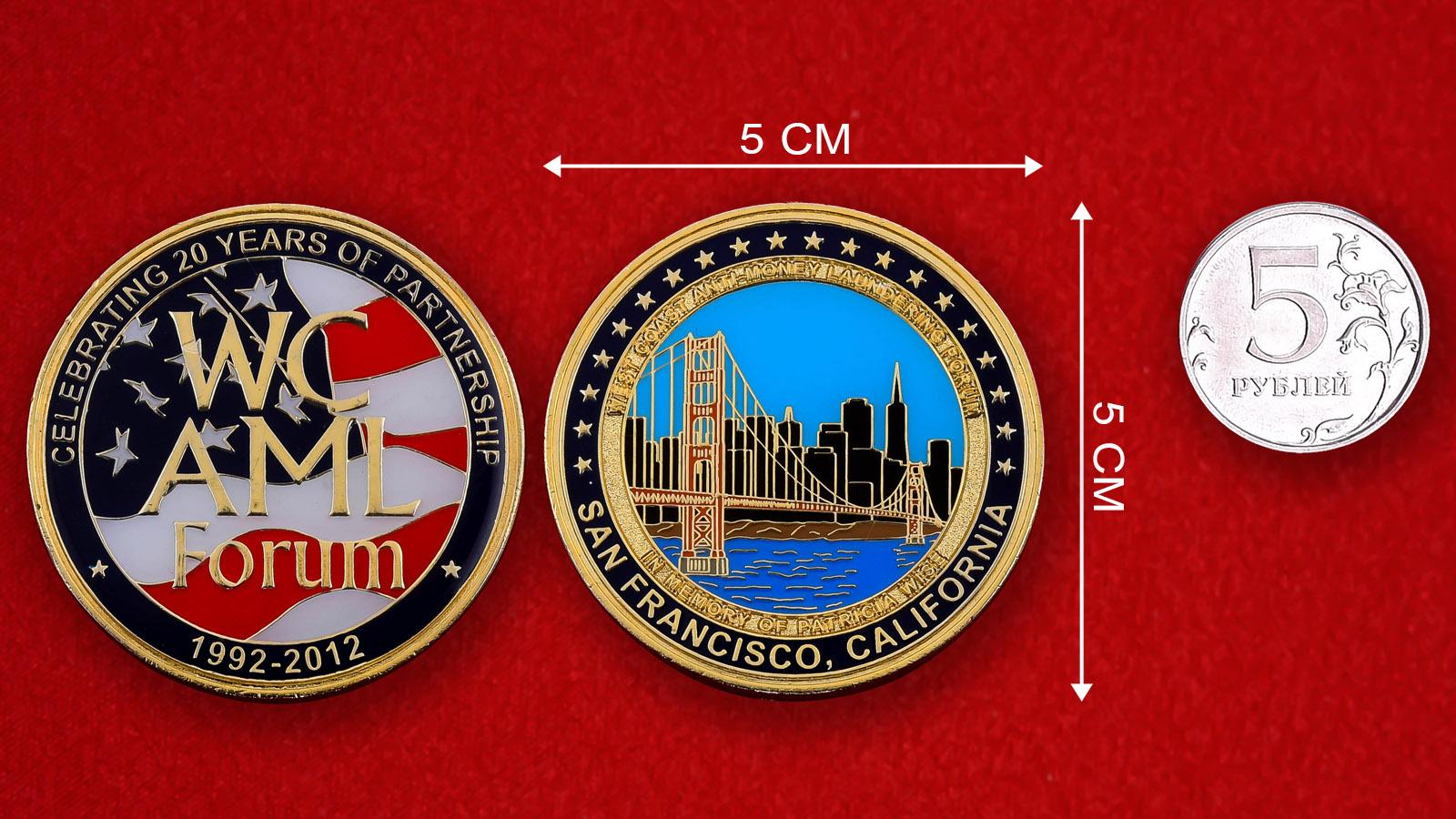 """Юбилейная монета США """"20 лет форуму по борьбе с отмыванием денег на Западном побережье"""""""