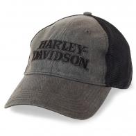 Мото бейсболка Harley-Davidson – модный графитовый цвет и сетка для вентиляции головы. Байкерский фасон из линейки «ничеголишнего»