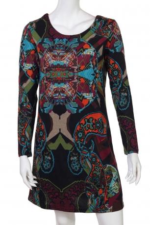 Мультиузорчатое брендовое платье до колен