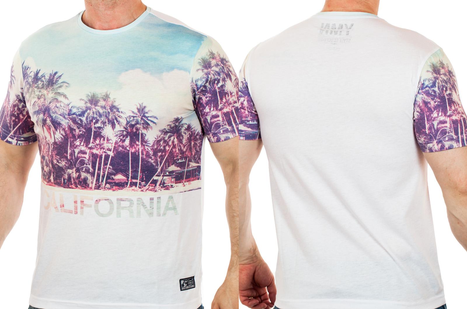 Мужская футболка Max Young Man – пляжный легкий принт с модным эффектом выгорания