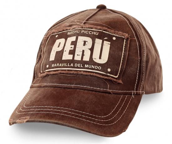 Мужская бейсболка Peru трендового кофейного цвета с дизайнерской нашивкой и уникальной надписью