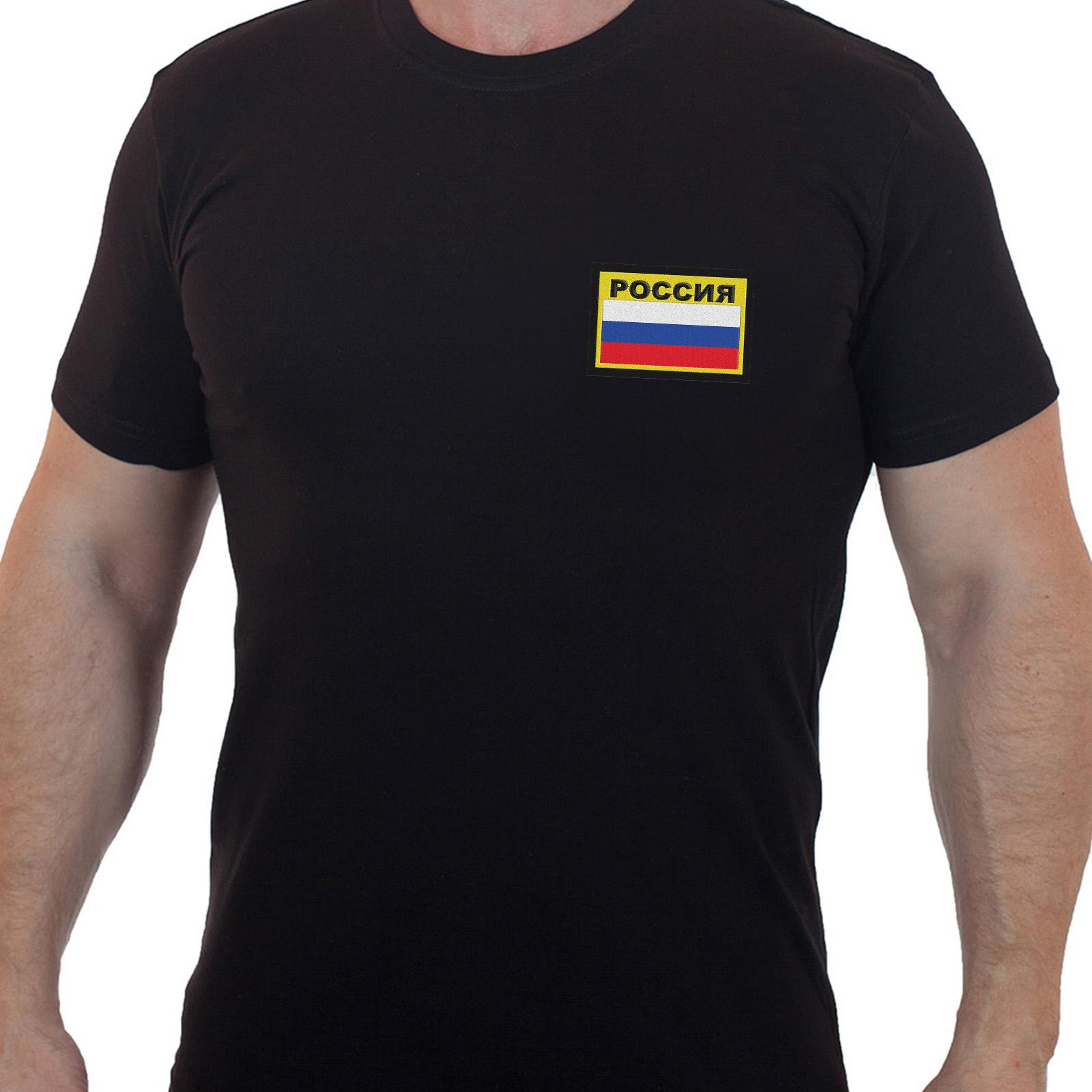 Мужская черная футболка с вышитым флагом России