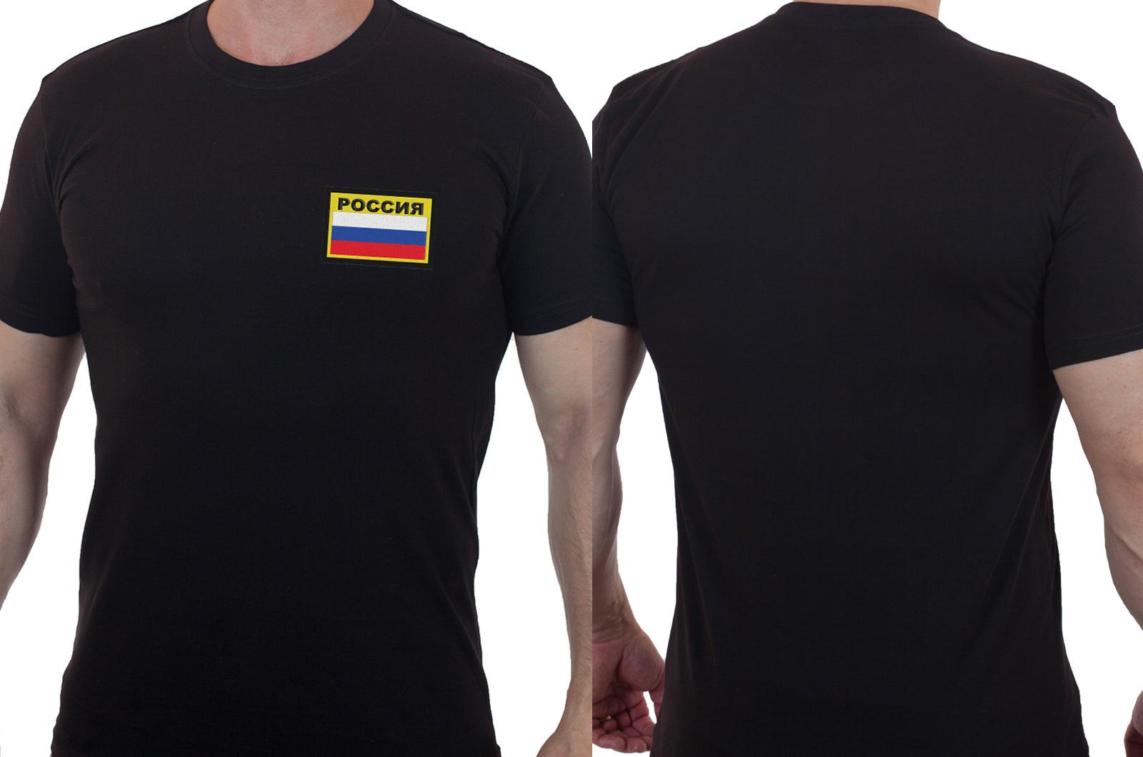 Мужская черная футболка с вышитым флагом России - купить в подарок