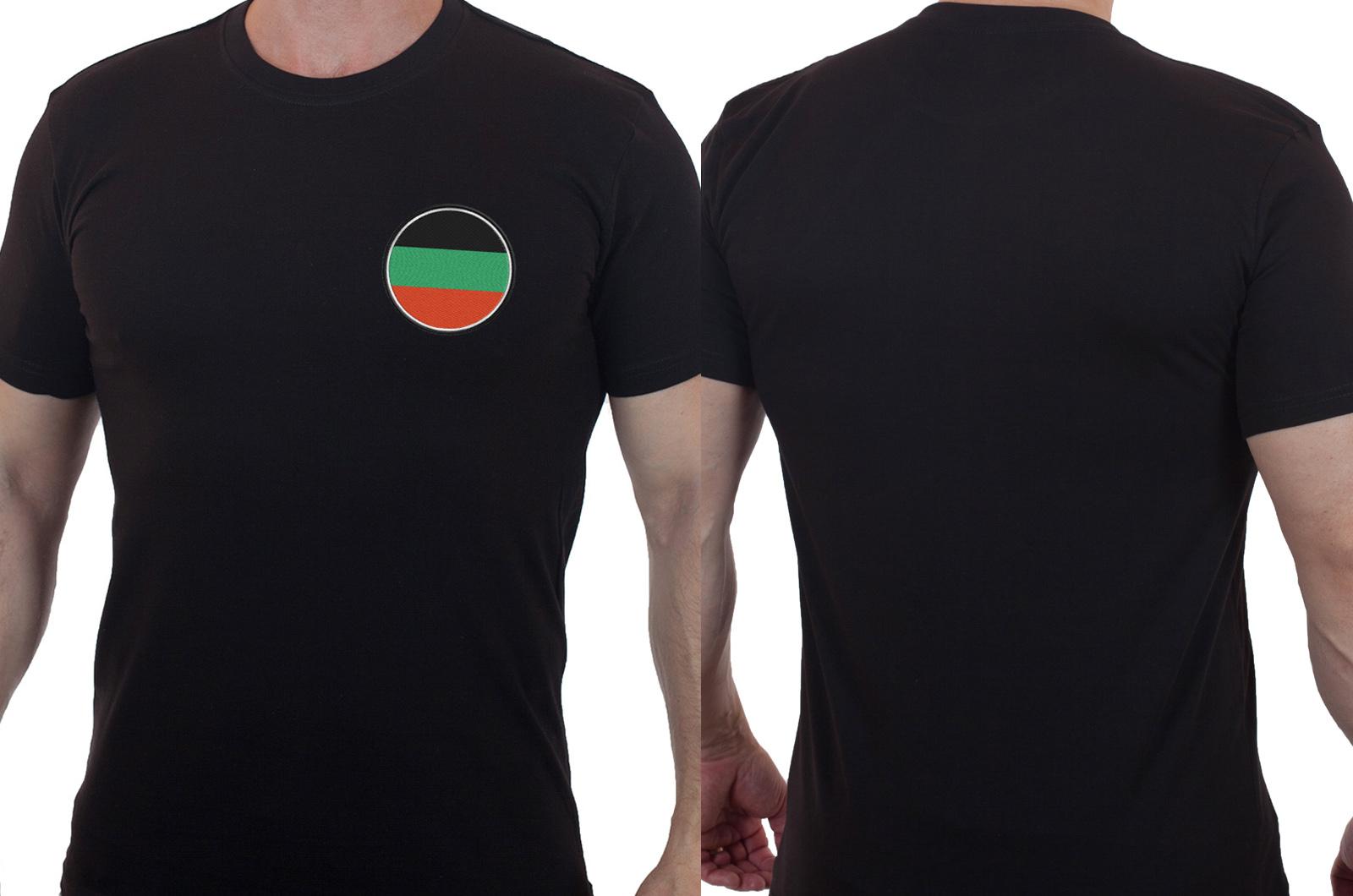 Мужская черная футболка с вышитым шевроном казака Терского войска - купить онлайн