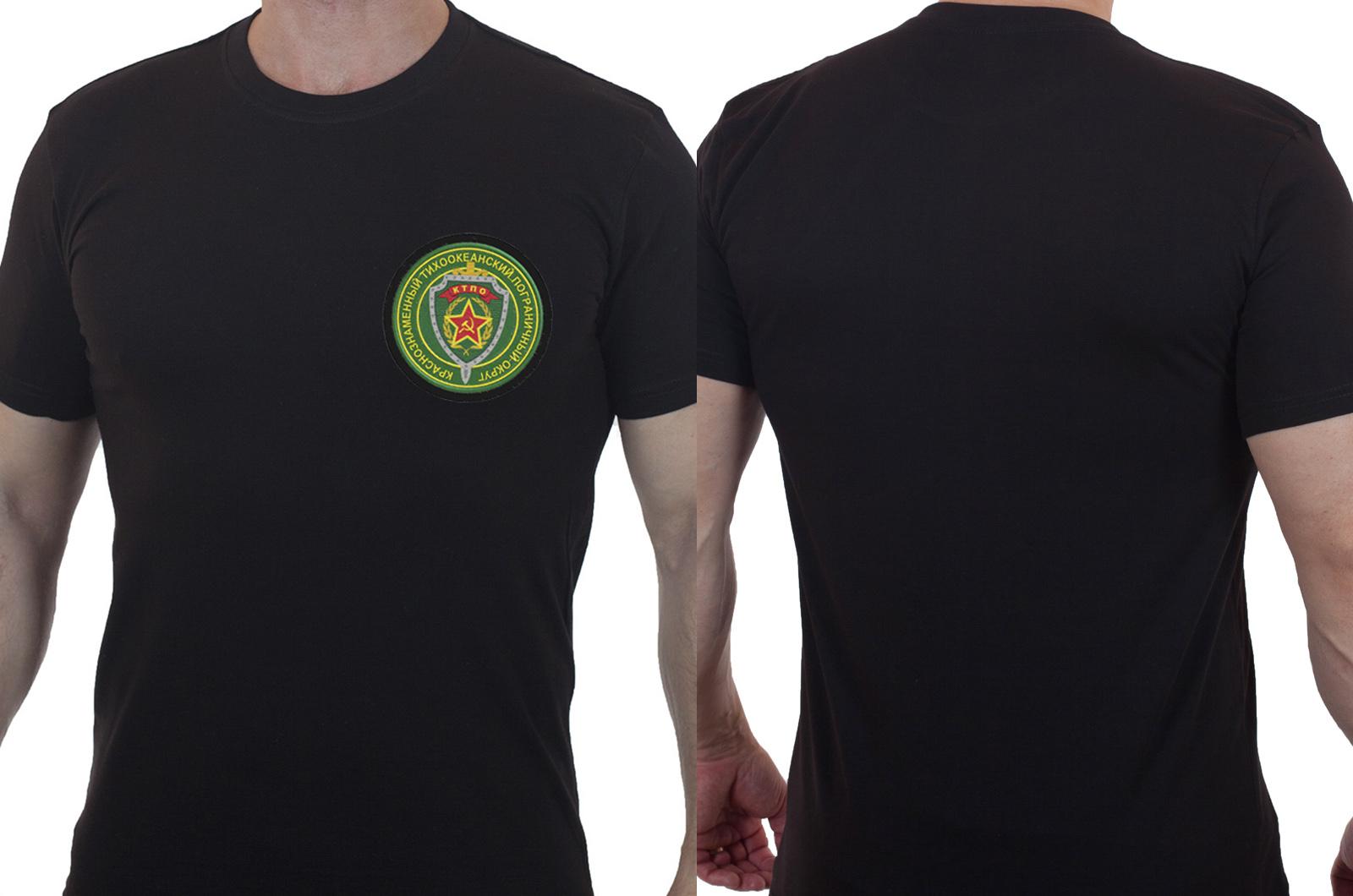 Мужская черная футболка с вышитым шевроном КТПО - заказать с доставкой
