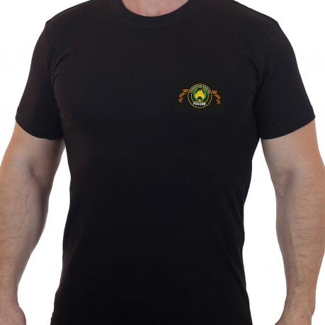 Мужская черная футболка с вышитым шевроном Танковые Войска