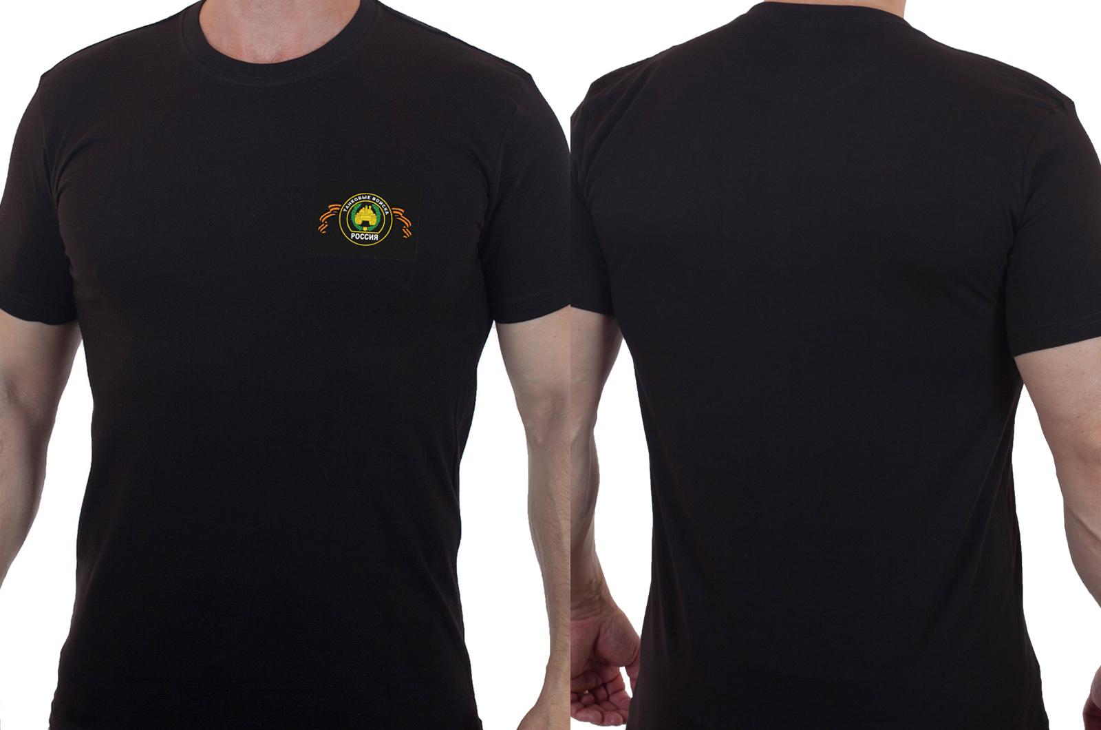 Мужская черная футболка с вышитым шевроном Танковые Войска - купить с доставкой