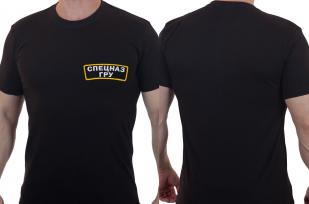Мужская черная футболка с вышивкой Спецназ ГРУ