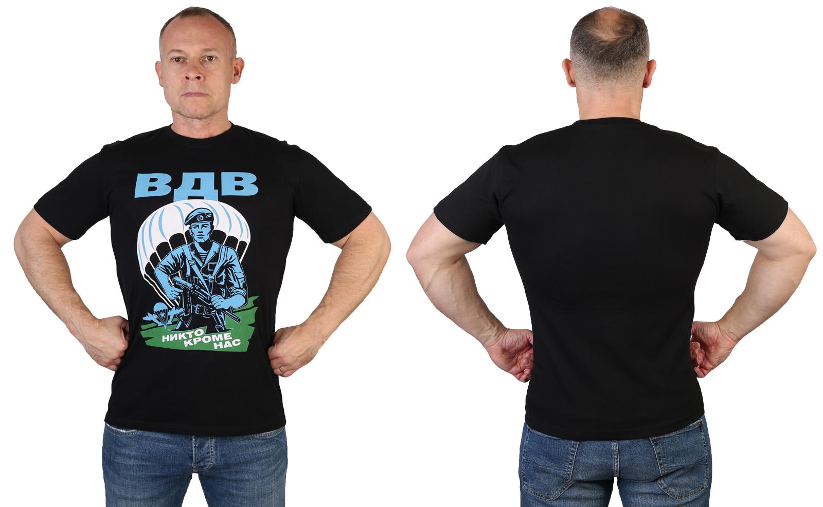 Мужская черная футболка ВДВ с авторским принтом