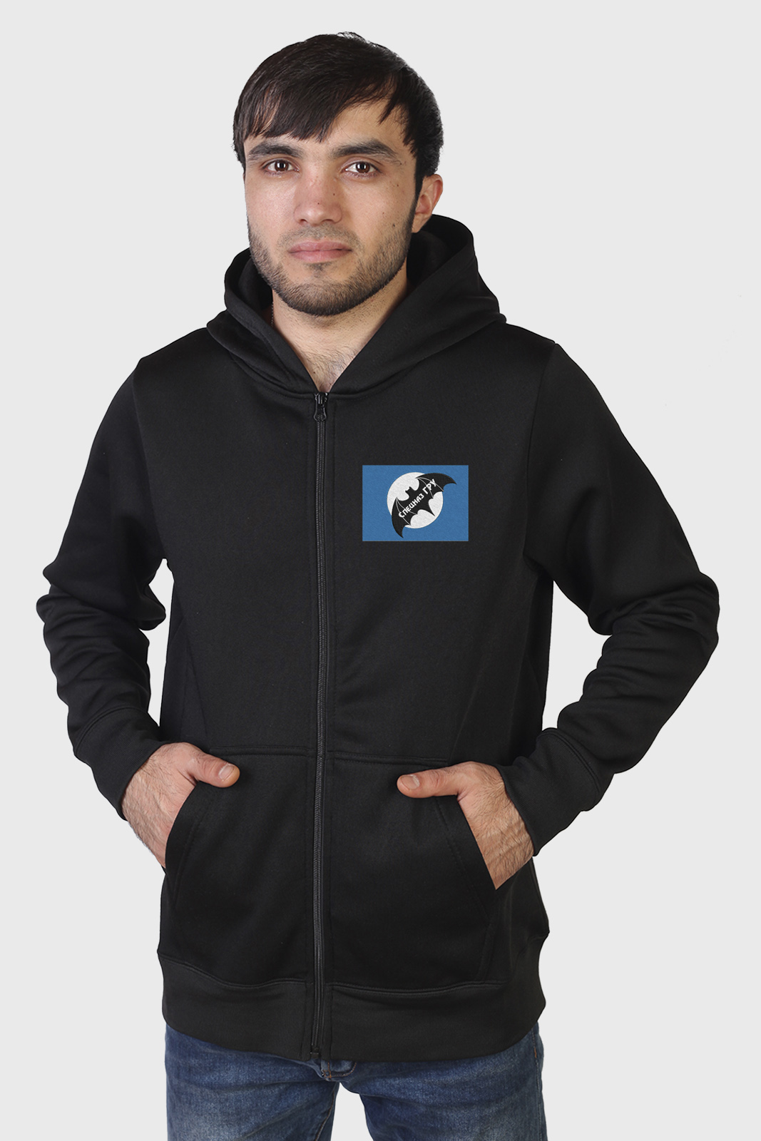 Мужская черная толстовка с эмблемой Спецназа ГРУ купить с доставкой