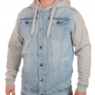 Мужская джинсовая куртка Ghanda™ с трикотажными рукавами и моложенным капюшоном. Успей купить фирменную джинсовку-толстовку по цене, сниженной ВДВОЕ!