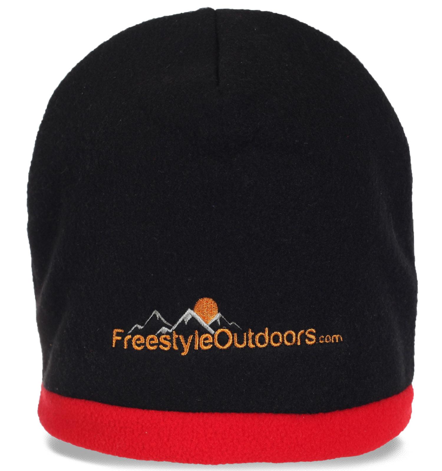 Мужская флисовая шапка бини для занятий спортом утепленная флисом. Надежно защитит Вашу голову от ветра и холода!
