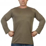 Мужская футболка хаки-олива с длинным рукавом