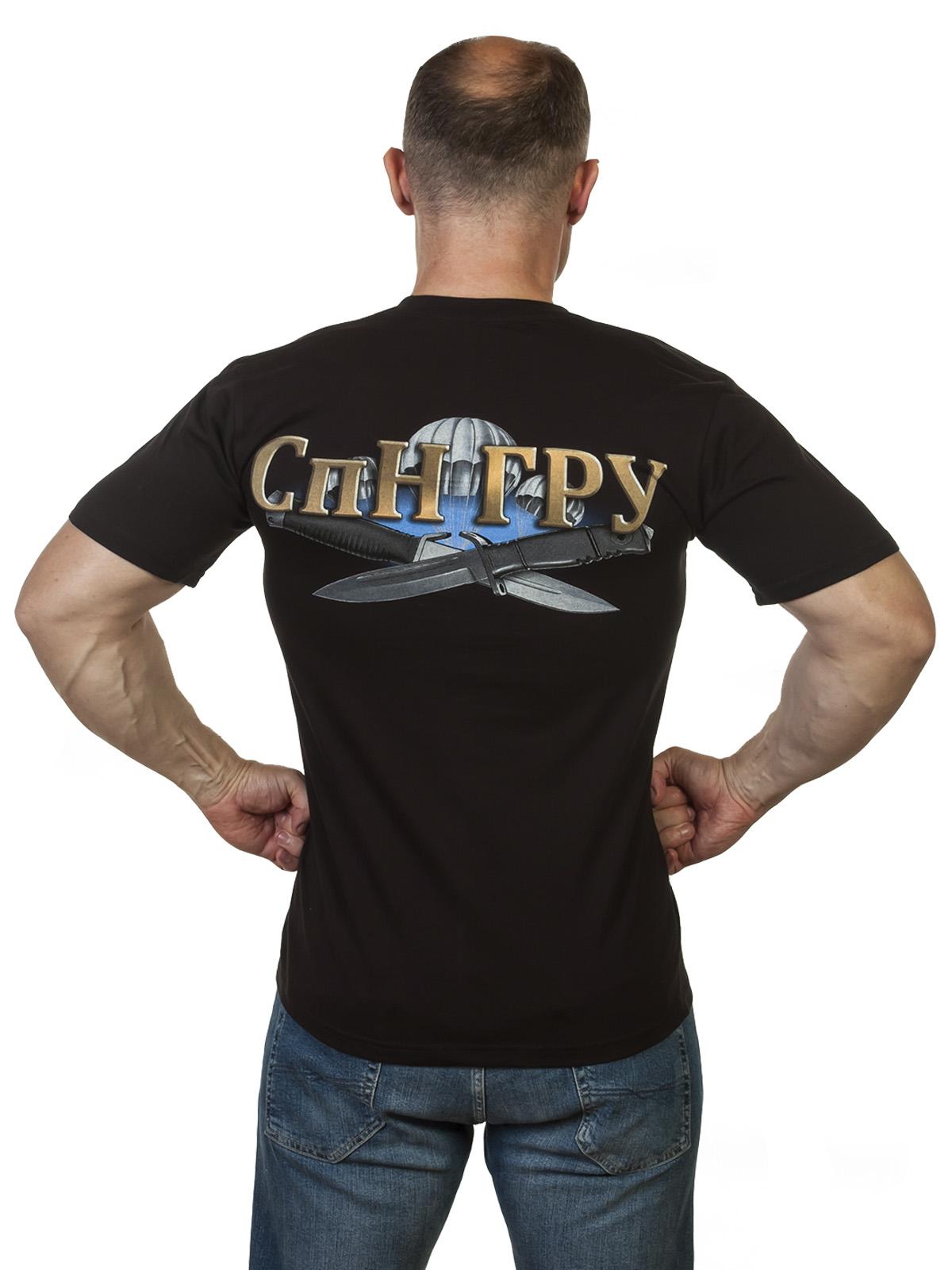 """Мужская футболка с эксклюзивным принтом """"СпН ГРУ"""" по выгодной цене"""