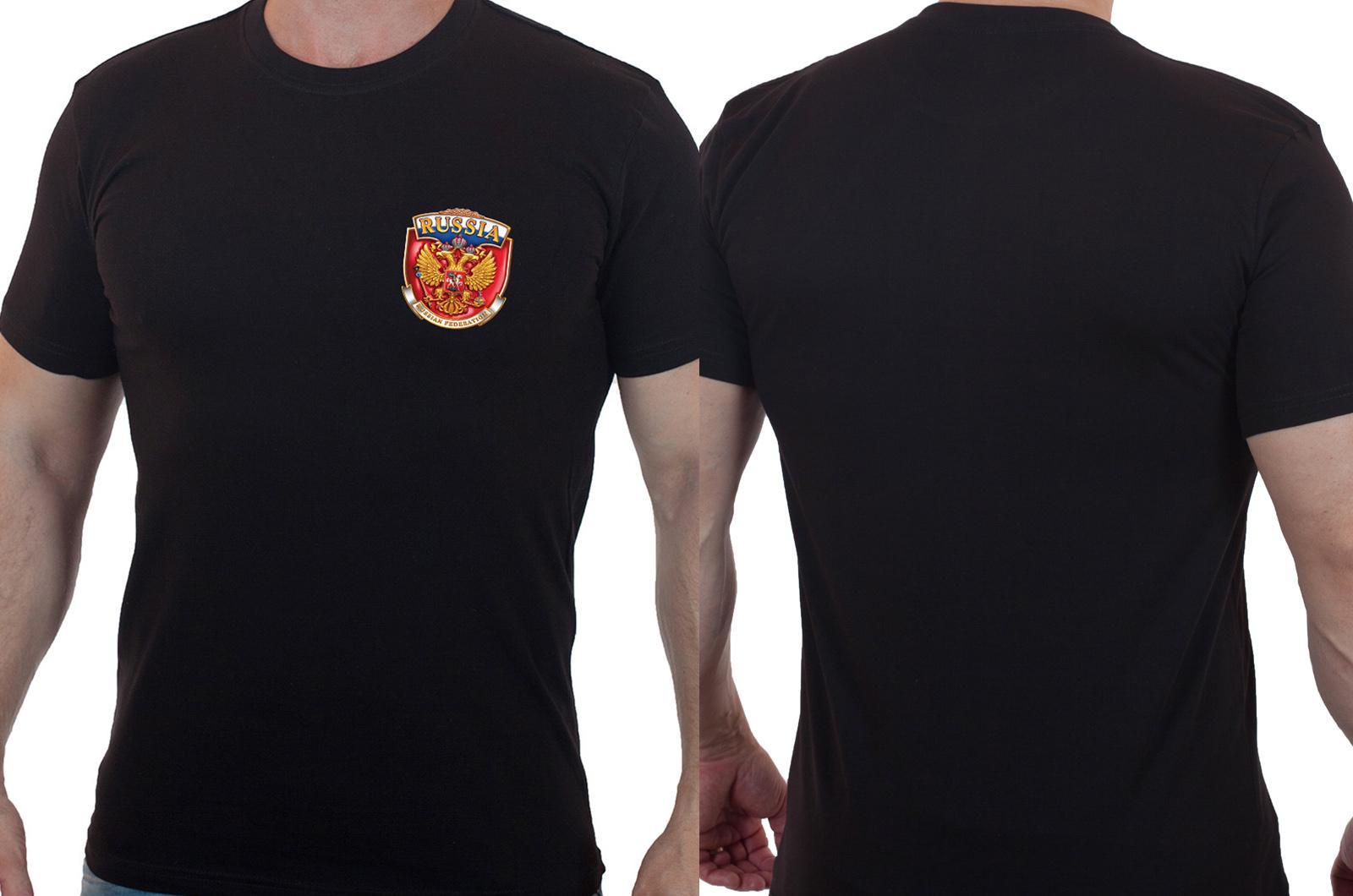 Мужская футболка с гербом России - купить онлайн